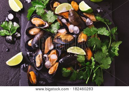 Uncooked Mussels On Ice With Cilantro And Coriander