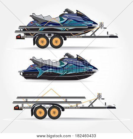 Vector illustration of water scooter car trailer and trailer with jet boat isolated on white background. Flat style design.