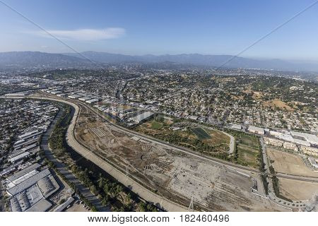 Aerial view of the Los Angeles River and the historic Taylor Rail Yard future park site.