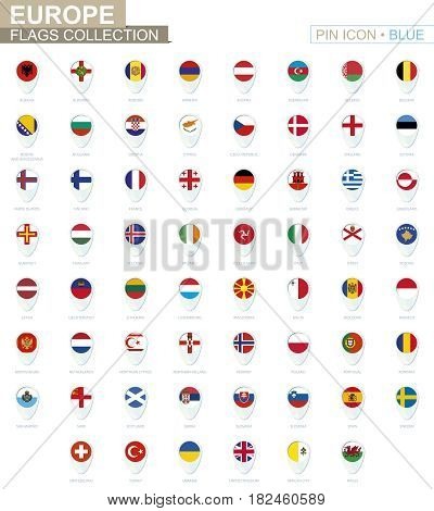 Europe Flags Collection. Big Set Of Blue Pin Icon With Flags.