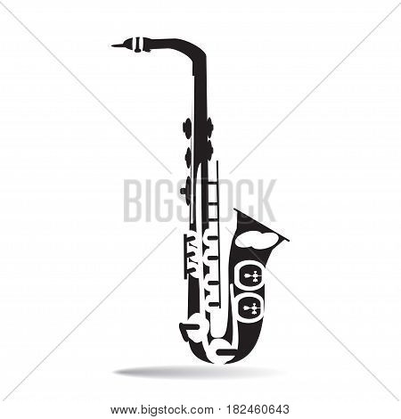 Black and white Saxophone vector Illustration in flat style