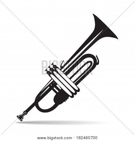 Vector black and white illustration of Trumpet isolated on a white background. Flat style design.