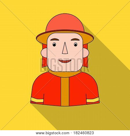Firefighter icon in flat style isolated on white background. People of different profession symbol vector illustration.