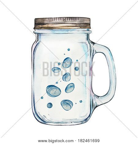 Isoleted Tumbler with stainless steel lid. Watercolor hand drawn painted illustration, water line and bubbles
