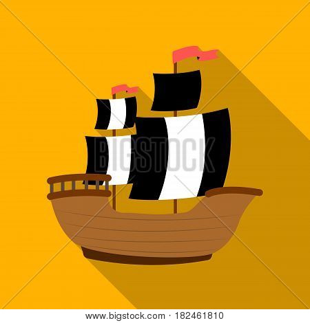 Pirate ship icon in flat style isolated on white background. Pirates symbol vector illustration.