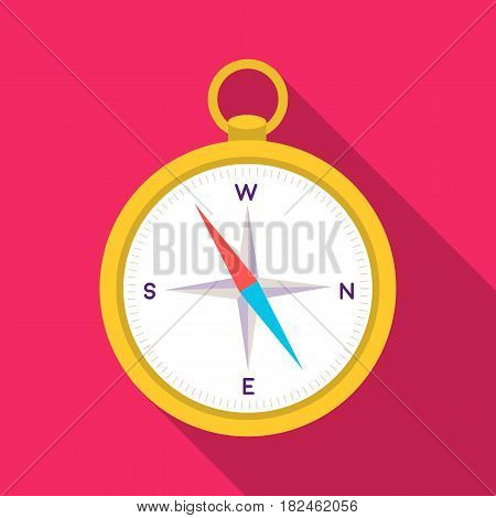 Compass icon in flat style isolated on white background. Pirates symbol vector illustration.
