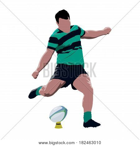 Rugby player kicking ball abstract vector isolated illustration