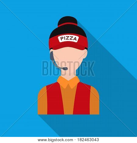 Saleswoman icon in flat style isolated on white background. Pizza and pizzeria symbol vector illustration.