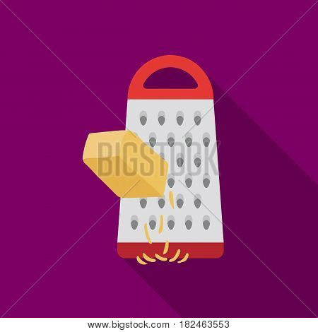 Grating cheese icon in flat style isolated on white background. Pizza and pizzeria symbol vector illustration.
