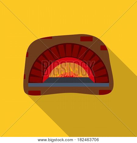 Wood-fired oven icon in flat style isolated on white background. Pizza and pizzeria symbol vector illustration.