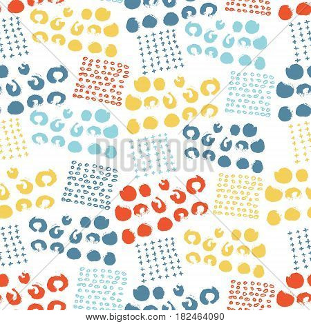 Vector colorful seamless pattern with brush dots, strokes, circles and strokes. Rainbow color on white background. Hand painted grange texture. Ink geometric elements. Fashion modern style. Fabric