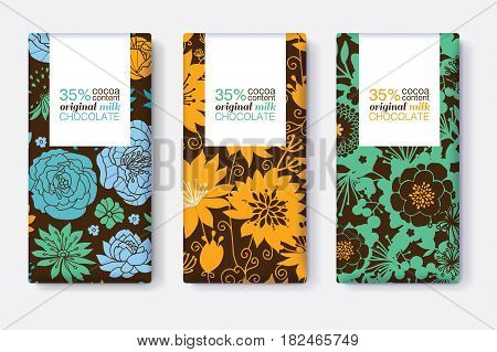 Vector Set Of Chocolate Bar Package Designs With Blue, Yellow, and Green Floral Patterns. Rectangle frame. Editable Packaging Template Collection. Packaging and Surface pattern design.