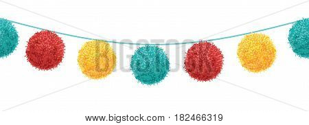 Vector Colorful Vibrant Birthday Party Pompoms Set On Strings Horizontal Seamless Repeat Border Pattern. Great for handmade cards, invitations, wallpaper, packaging, nursery designs. Surface pattern design.