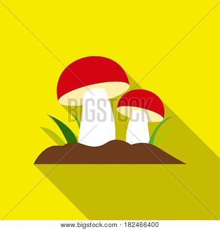 Mushroom icon flat. Single plant icon from the big farm, garden, agriculture flat.