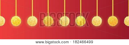 Vector Golden Yellow Decorative Pompoms With Ropes Horizontal Seamless Repeat Border Pattern. Great for handmade cards, invitations, wallpaper, packaging, nursery designs. Surface pattern design.