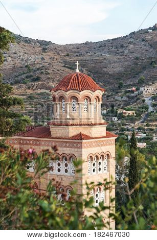 the monastery of Agios Nektarios in the island Aegina in Greece on summer