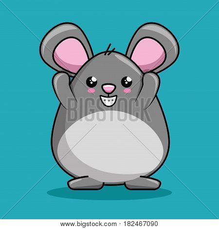cute mouse character kawaii style vector illustration design