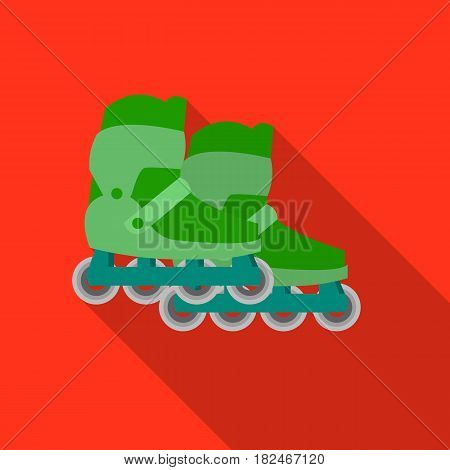 Inline skates and scooter icon in flat style isolated on white background. Play garden symbol vector illustration.