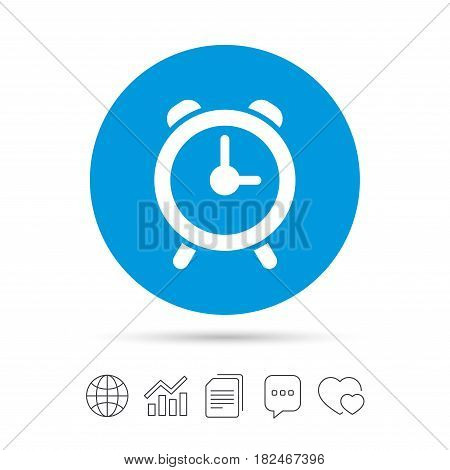Alarm clock sign icon. Wake up alarm symbol. Copy files, chat speech bubble and chart web icons. Vector