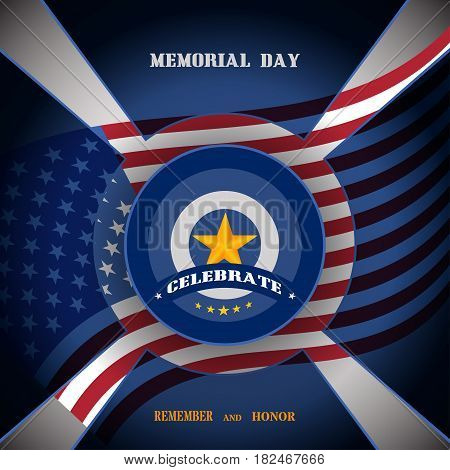 Memorial Day vector poster with medal and blue transparent shapes cut from paper and shadow on the gradient gray background with usa flag.