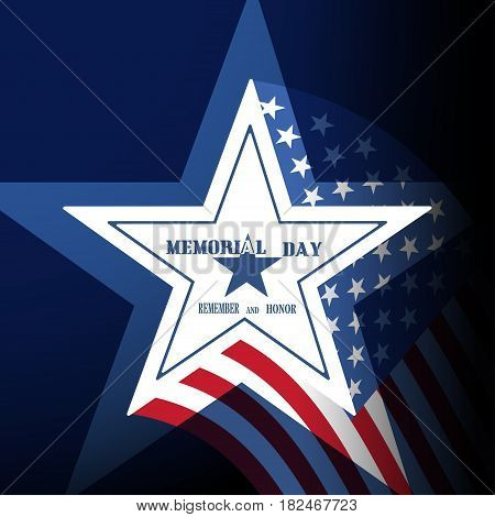 Vector poster of Memorial Day with label in the shape of a star on the gradient blue background with american flag.