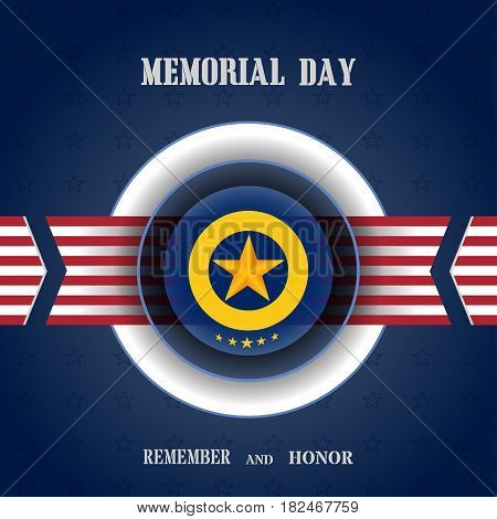 Vector poster of Memorial Day with medal stripe with usa flag cut from paper shadow and text on the gradient blue background with stars.