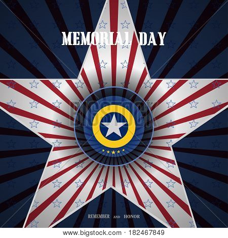 Vector poster of Memorial Day with label cut from paper cutout in the shape of a star and shadow on the gradient blue background with red rays and blue stars.