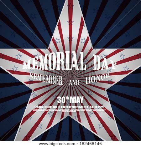 Memorial Day vector poster with convex text cutout in the shape of a star and shadow on the gradient gray background with red rays and stars.