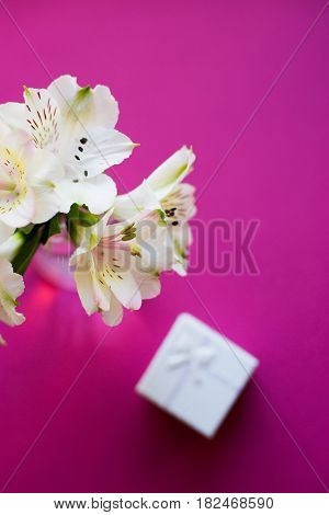 Beautiful Tender Bouquet Of Alstroemeria With White Gift Box
