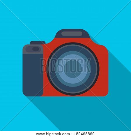 Digital camera icon in flat design isolated on white background. Rest and travel symbol stock vector illustration.