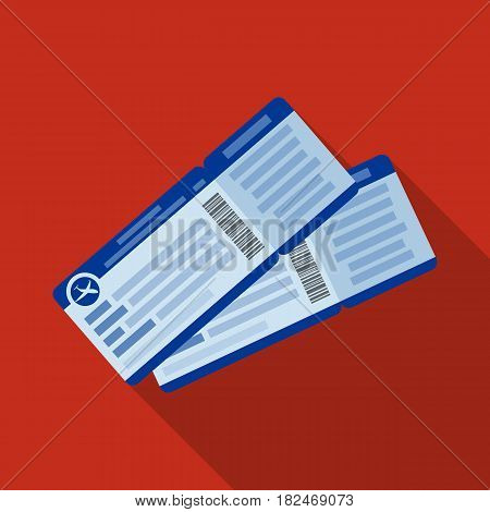 Two airline tickets icon in flat design isolated on white background. Rest and travel symbol stock vector illustration.