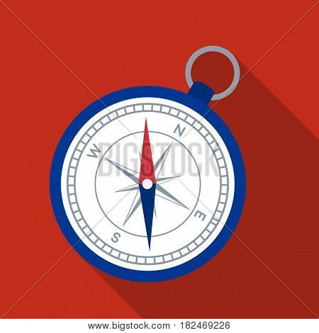 Compass icon in flat design isolated on white background. Rest and travel symbol stock vector illustration.