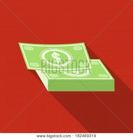 Pile of cash icon in flat design isolated on white background. Rest and travel symbol stock vector illustration.