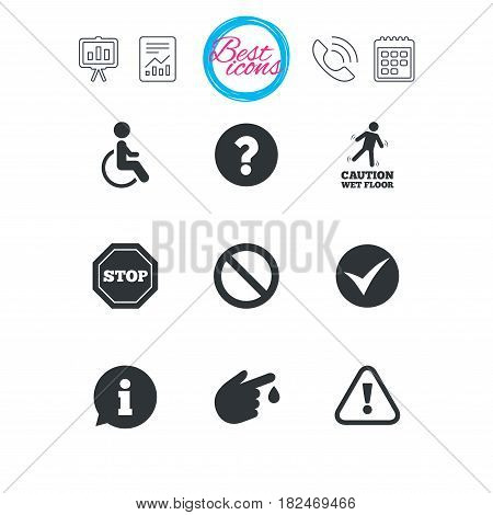 Presentation, report and calendar signs. Attention caution icons. Question mark and information signs. Injury and disabled person symbols. Classic simple flat web icons. Vector