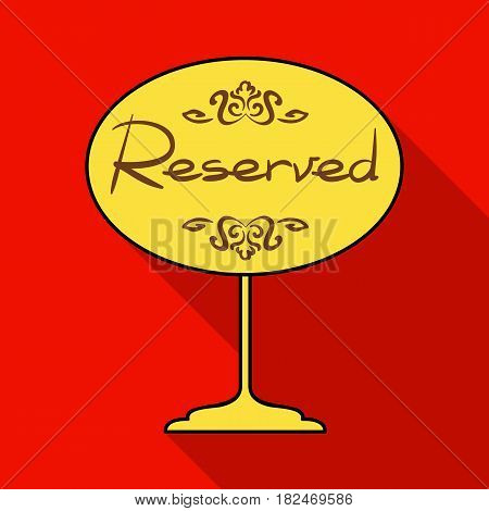 Restaurant golden reserved sign icon in flat style isolated on white background. Restaurant symbol vector illustration.