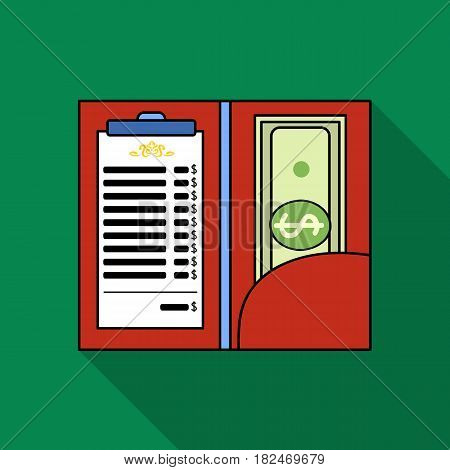 Restaurant receipt with cash icon in flat style isolated on white background. Restaurant symbol vector illustration.