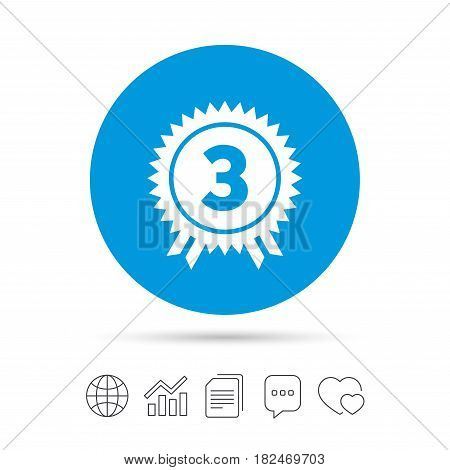 Third place award sign icon. Prize for winner symbol. Copy files, chat speech bubble and chart web icons. Vector