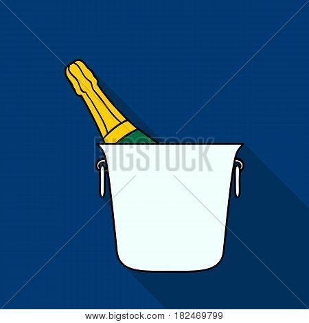 Bottle of champagne in an ice bucket icon in flat style isolated on white background. Restaurant symbol vector illustration.