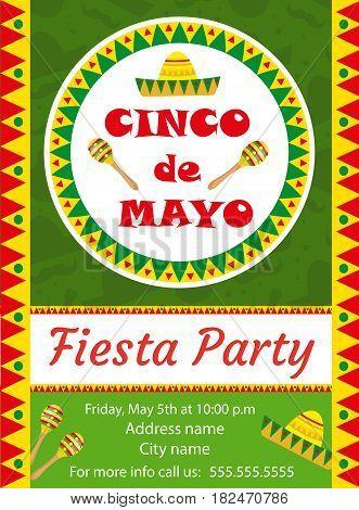 Cinco de Mayo invitation template, flyer. Mexican holiday postcard. Vector illustration
