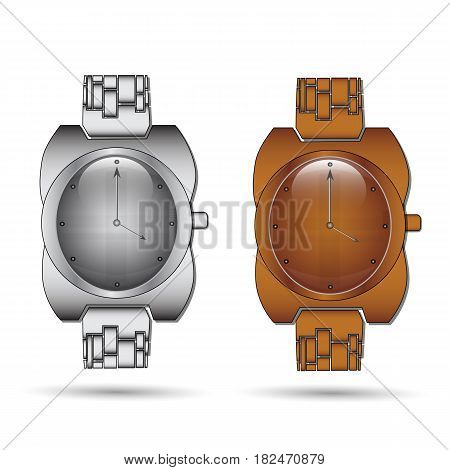 Analog Wrist Watch. Vector illustration on white background