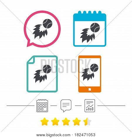 Baseball fireball sign icon. Sport symbol. Calendar, chat speech bubble and report linear icons. Star vote ranking. Vector