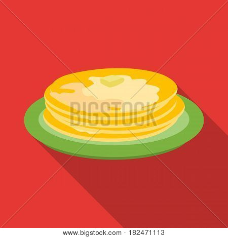 Russian pancakes icon in flat design isolated on white background. Russian country symbol stock vector illustration.