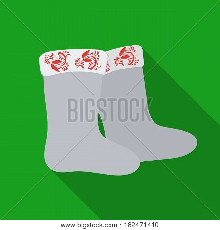 Winter felt boots icon in flat design isolated on white background. Russian country symbol stock vector illustration.