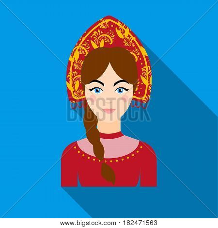 Russian woman in traditional suit icon in flat design isolated on white background. Russian country symbol stock vector illustration.
