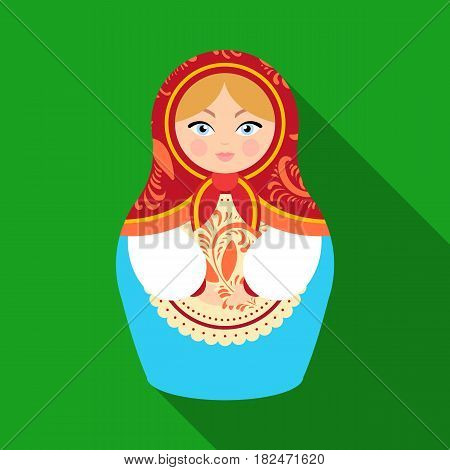 Russian matrioshka icon in flat design isolated on white background. Russian country symbol stock vector illustration.