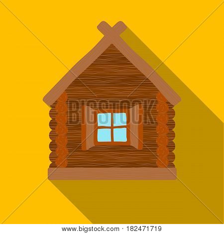 Wooden house icon in flat design isolated on white background. Russian country symbol stock vector illustration.