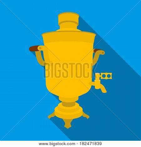 Samovar icon in flat design isolated on white background. Russian country symbol stock vector illustration.