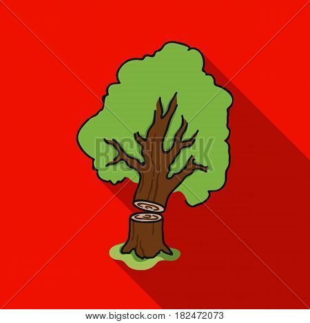 Falling tree icon in flat style isolated on white background. Sawmill and timber symbol vector illustration.