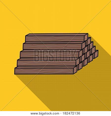 Stack of lumbers icon in flat style isolated on white background. Sawmill and timber symbol vector illustration.