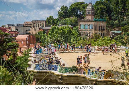 Spain Barcelona-August 82014:Park Guell in Barcelona .